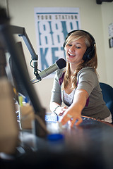 A student working at KETR, the University's radio station