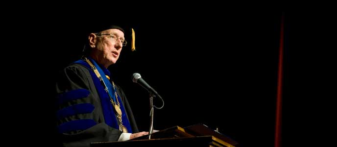President Dan Jones speaking at his Investiture ceremony