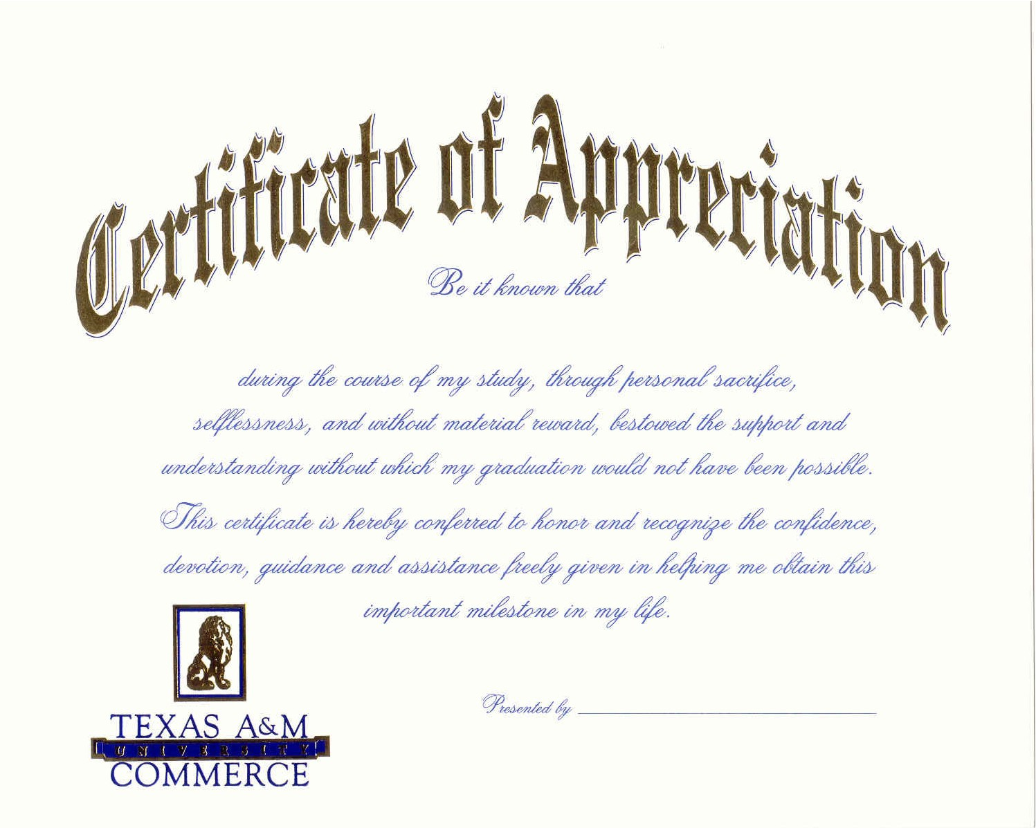 Announcement Samples Texas AM UniversityCommerce – Graduation Certificate Wording