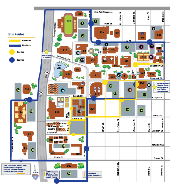 Am Commerce Campus Map.Shuttle Schedule Texas A M University Commerce