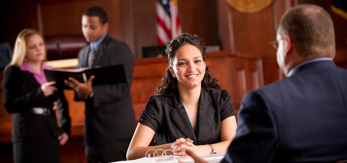 A paralegal studies coed in court